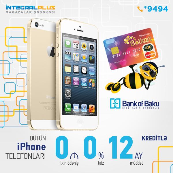 Bolkart ilə 12 aya əlavə xərcsiz İPhone5 telefonları!