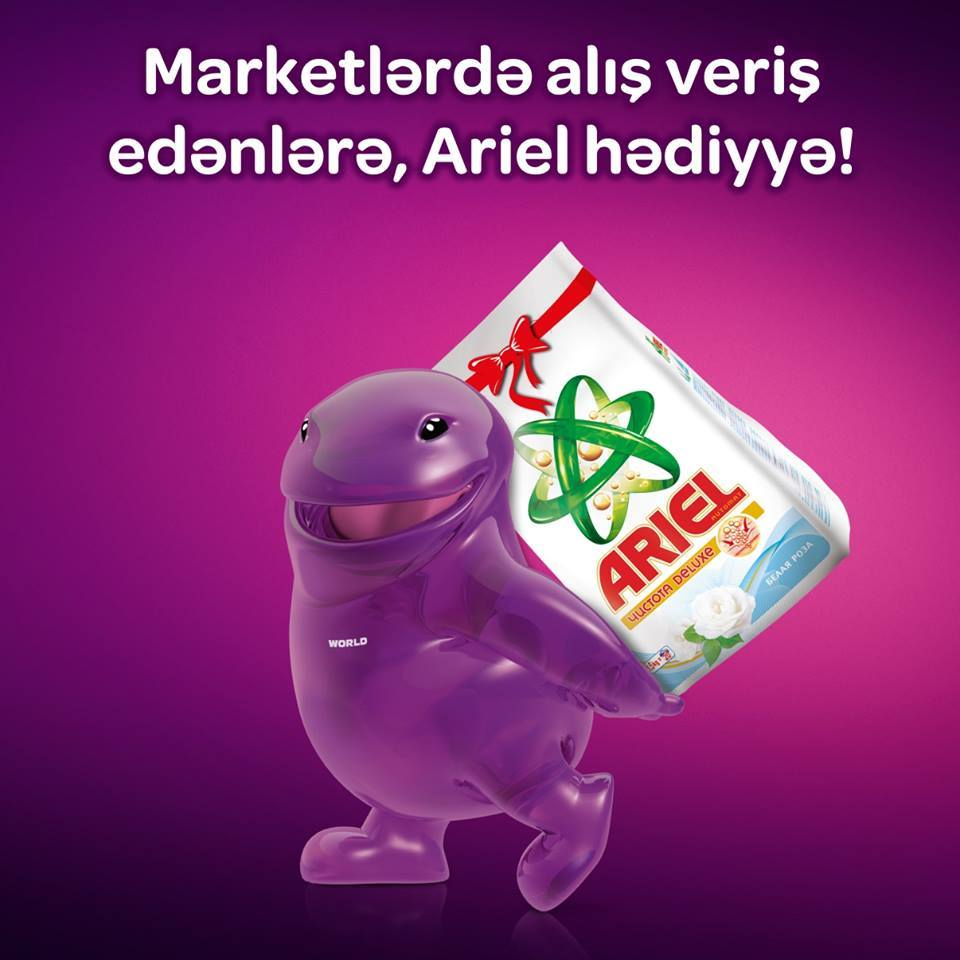 Worldcard-dan seçilmiş marketlərdə hər 30 manatlıq alış-verişə 1.5 Kq Ariel hədiyyə!