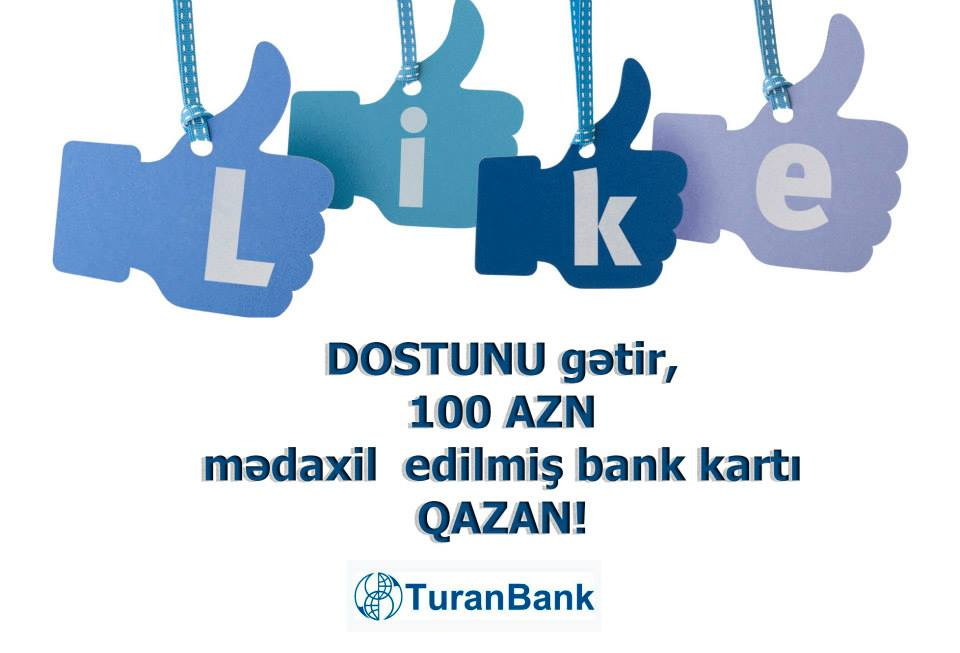 TuranBank Facebook səhifəsinin izləyiciləri üçün yeni hədiyyəli aksiyaya start verir.