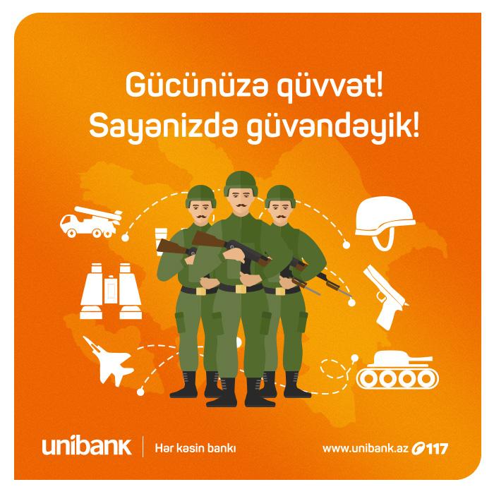 Unibank hərbçiləri təbrik edir