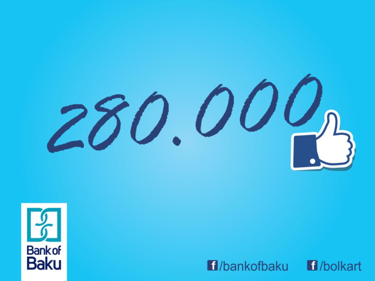"""""""Bank of Baku"""" Facebook-da rekord vurur: 280.000 fan!"""