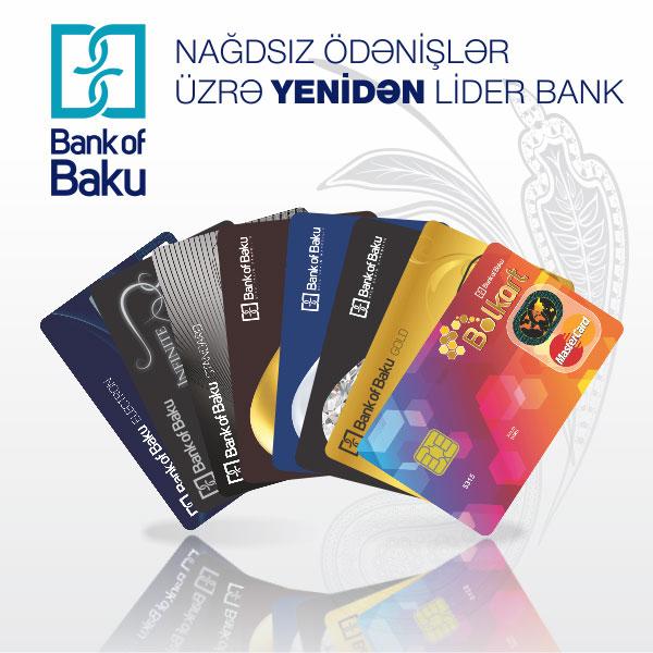 """""""Bank of Baku""""nağdsız ödənişlər üzrə yenidən lider bank oldu!"""