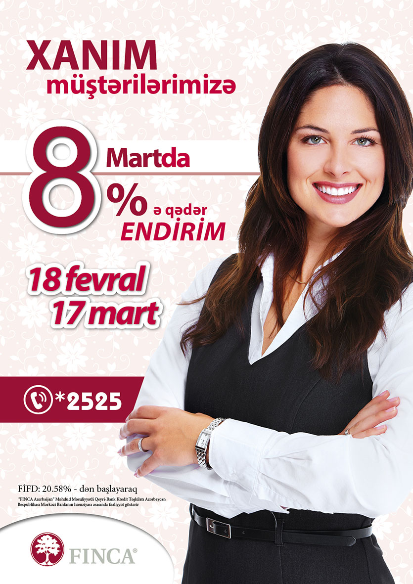 """Xanımlara Özəl """"8 Mart"""" Endirim Kampaniyası!"""