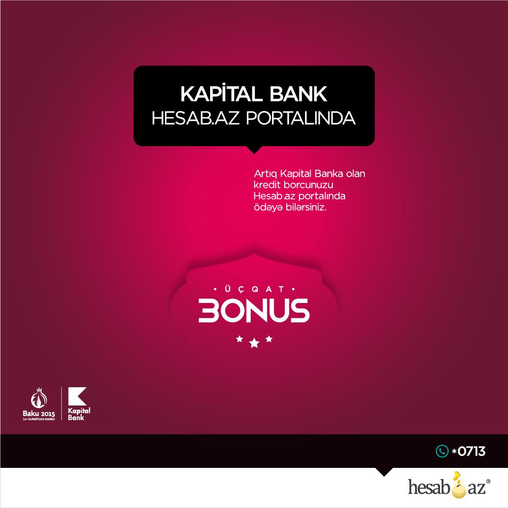 Hesab.az portalına yeni bank qoşuldu!
