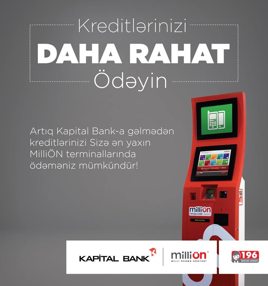 Kapital Banka kredit borcu ödənişləri indi MilliÖN-də