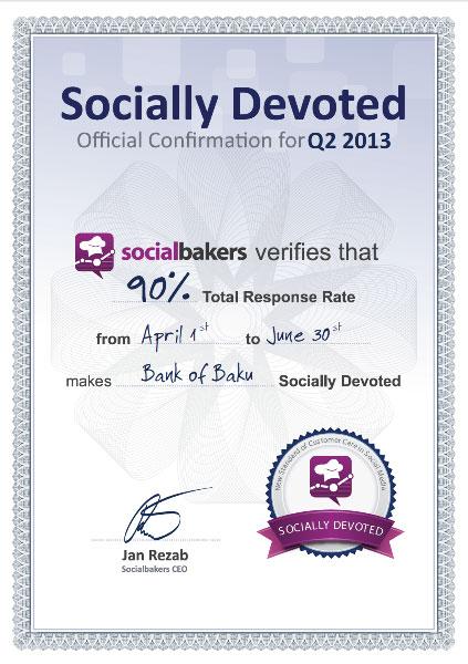 """""""Bank of Baku""""-nun Facebook səhifəsi beynəlxalq Socialbakers xidmətinin sertifikatına layiq görülüb!"""