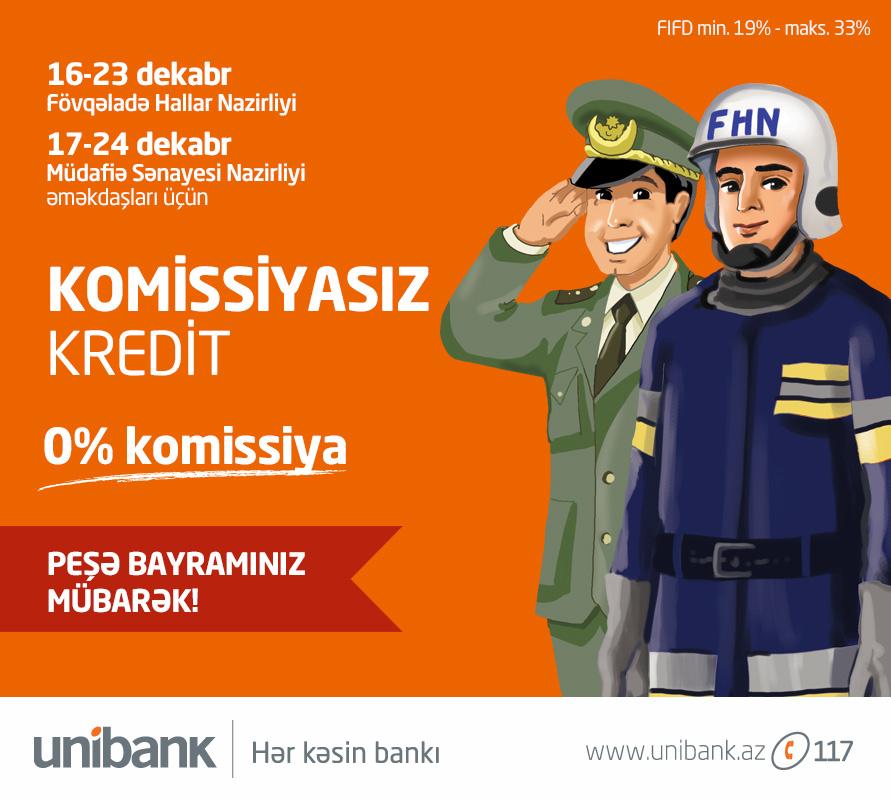 Unibank-dan 0% komissiyalı nağd kredit kampaniyası