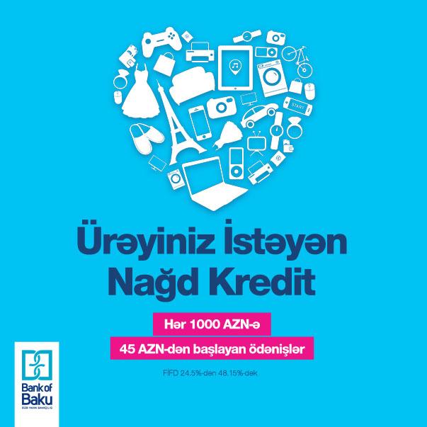 «Кредит наличными по душе» от «Bank of Baku»: оформите кредит за 45 манат в месяц!