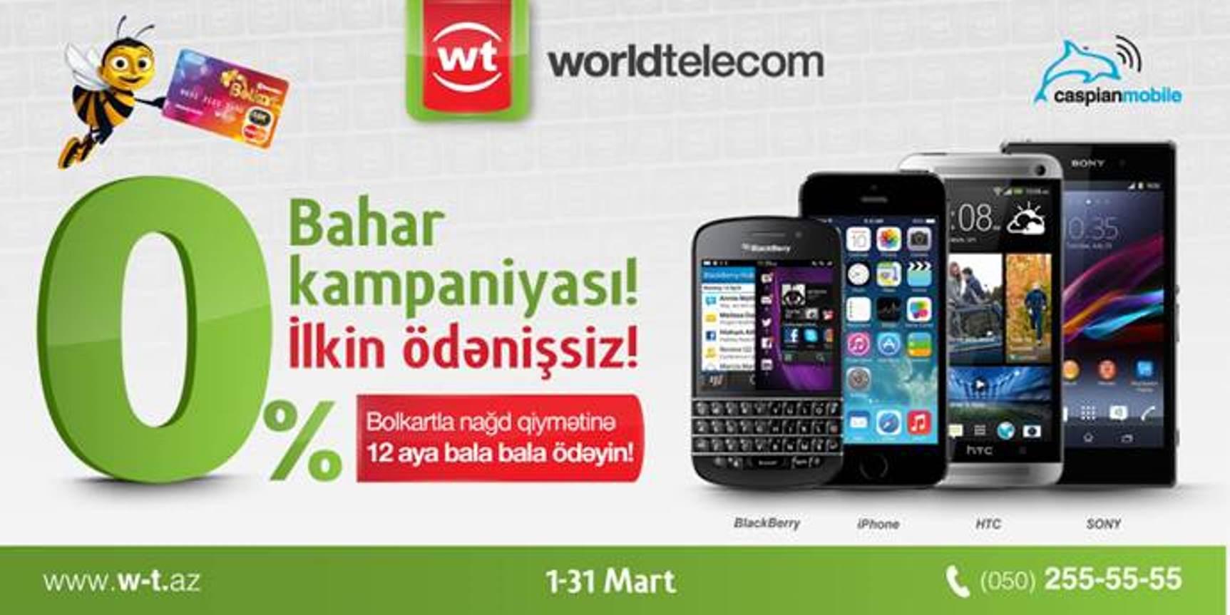 """Bolkart ilə """"WorldTelecom""""-dan ən yaxşı mobil telefonlar: nağd qiymətinə və 12 aylıq ödənişlə!"""