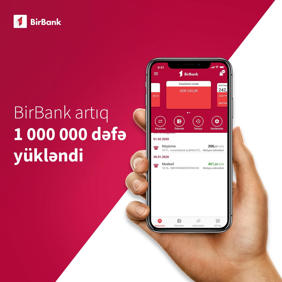 BirBank istifadəçilərinin sayı bir milyonu keçdi