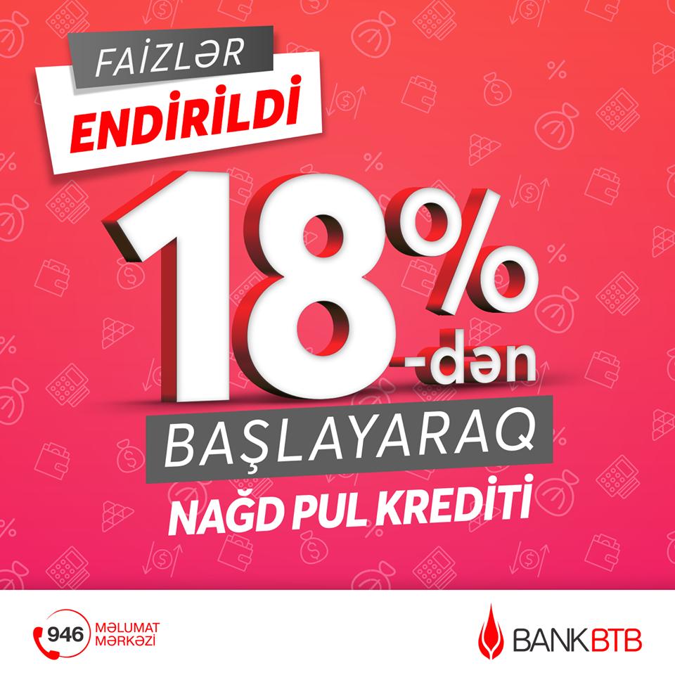 Bank BTB bütün növ İstehlak kreditlərinin şərtlərini sadələşdirdi