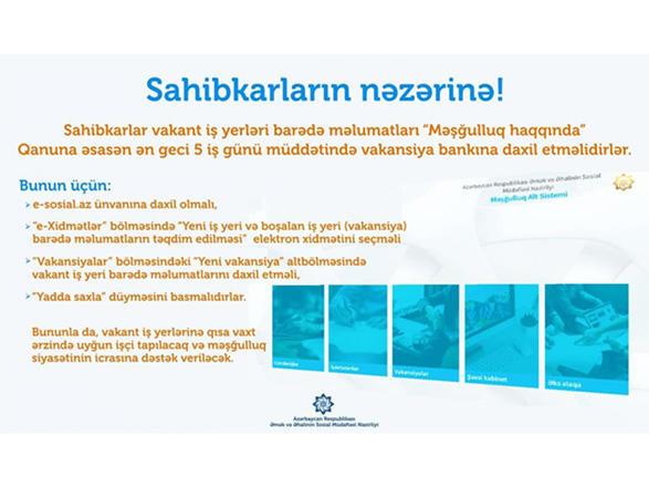 Предприниматели разместят информацию о вакантных местах в базе данных Минтруда Азербайджана
