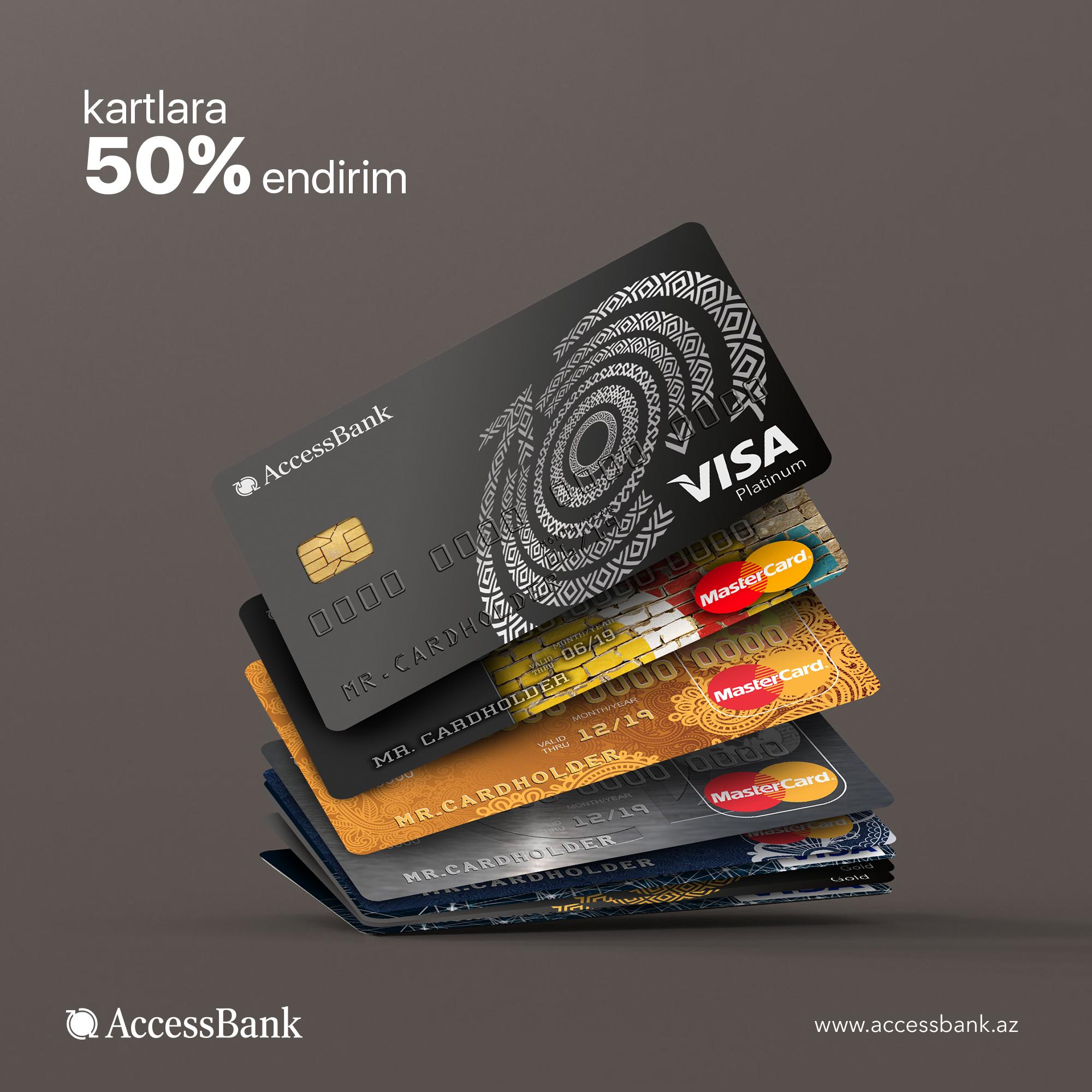 AccessBank-ın kartlarını yarı qiymətə əldə et!