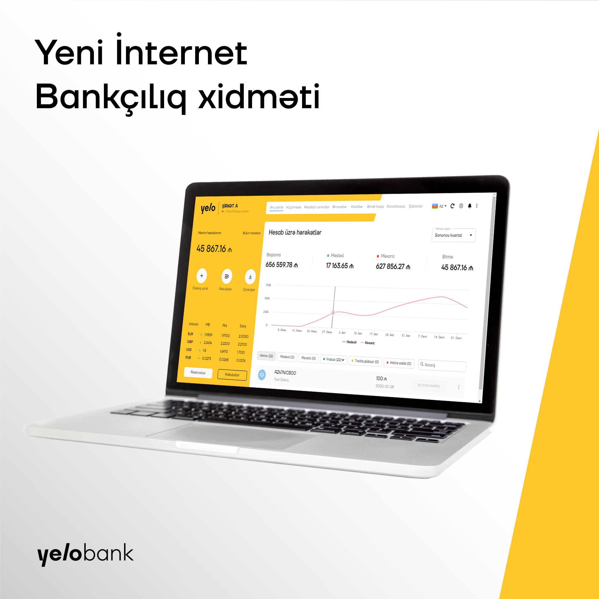 Yelo Bank yeni İnternet bankçılıq xidmətini istifadəyə verdi