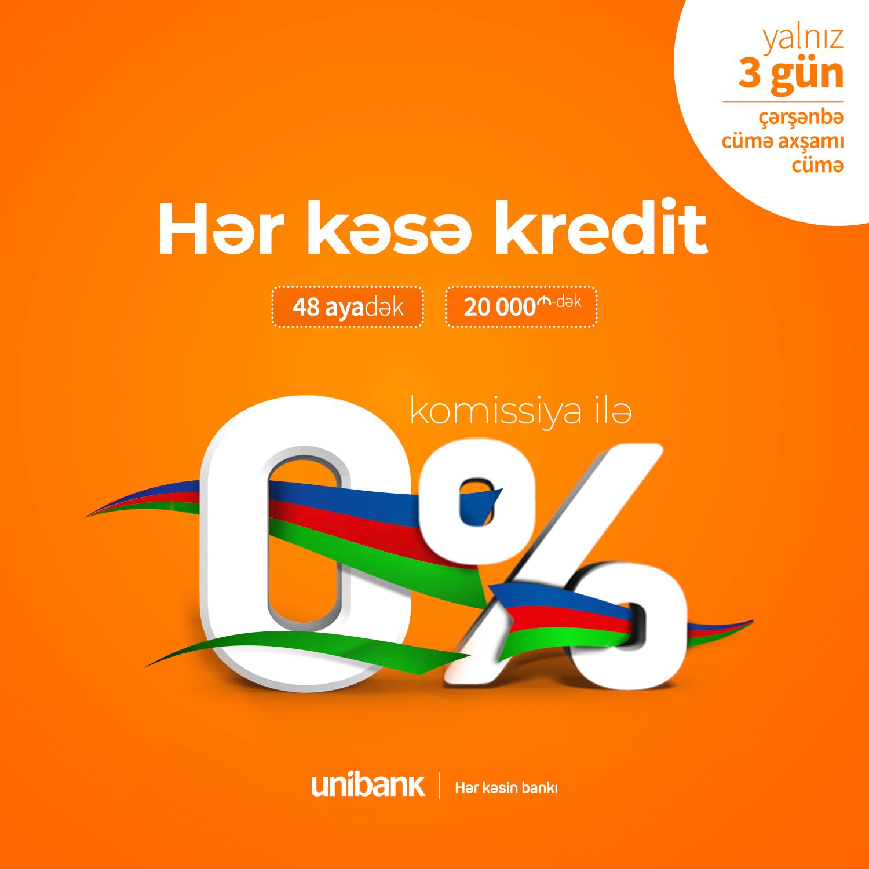 Unibank hər kəs üçün üç günlük 0% komissiyalı kredit aksiyası keçirir