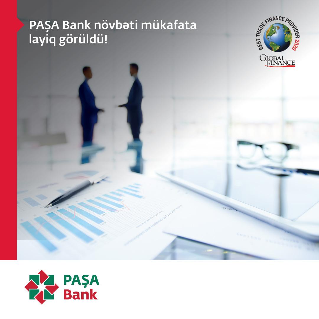 """PAŞA Bank """"Ticarətin maliyyələşdirilməsi üzrə Azərbaycanın ən yaxşı bankı"""" adına layiq görüldü"""