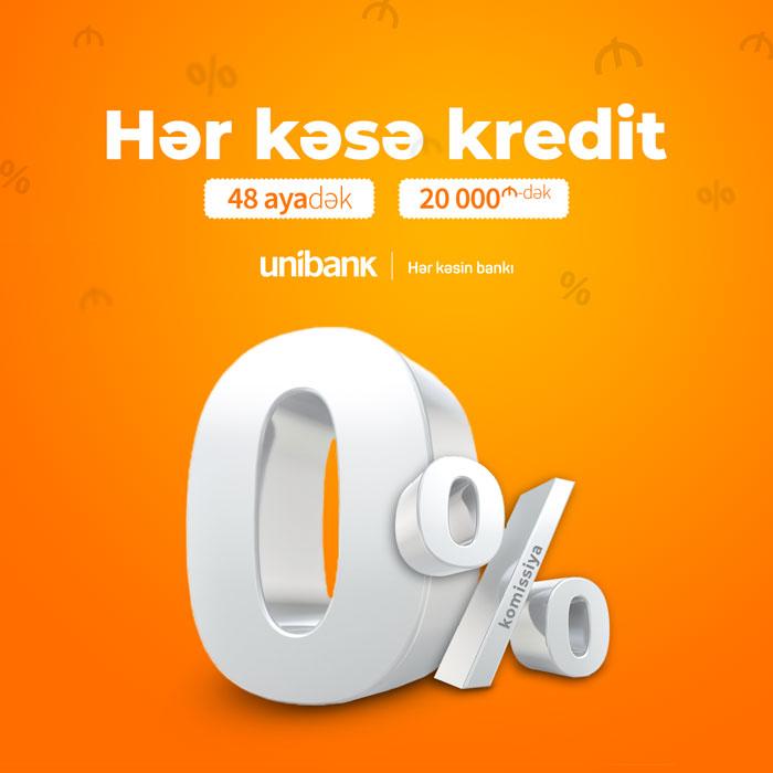 Unibank krediti hər kəs üçün 0% komissiyalı etdi