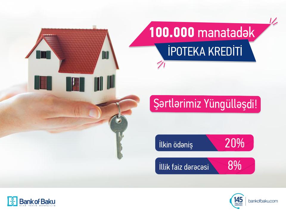 Bank of Baku-dan 20% ilkin ödənişlə 100.000 AZN-dək İpoteka Krediti!