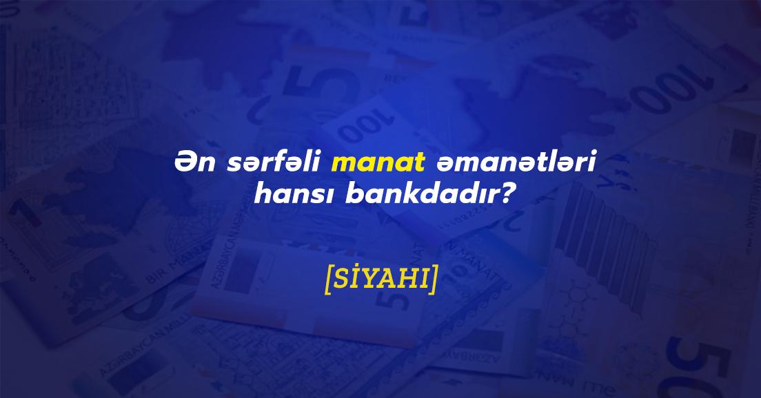 Manat əmanəti hansı banklarda daha sərfəlidir? - Oktyabr 2020