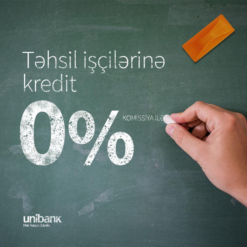 Unibank təhsil işçiləri üçün KOMİSSİYASIZ kredit kampaniyası keçirir