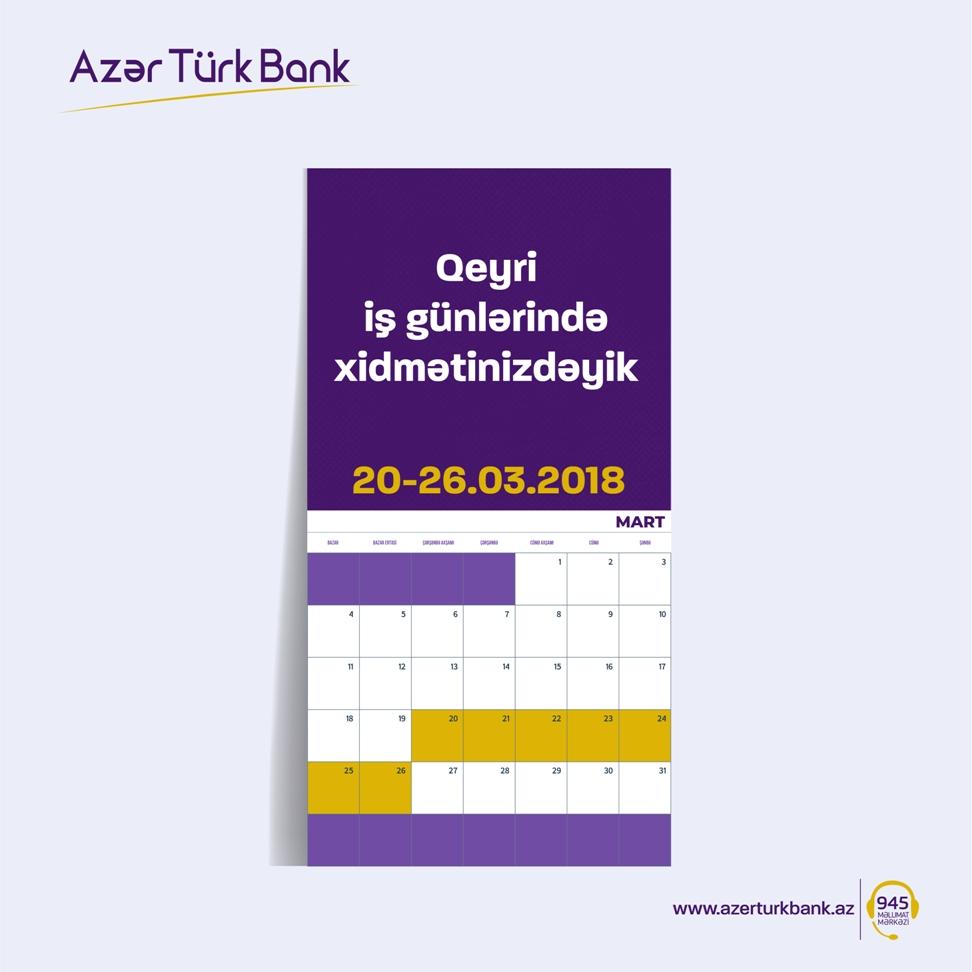 Azər Türk Bank  bayram günlərində işləyəcək
