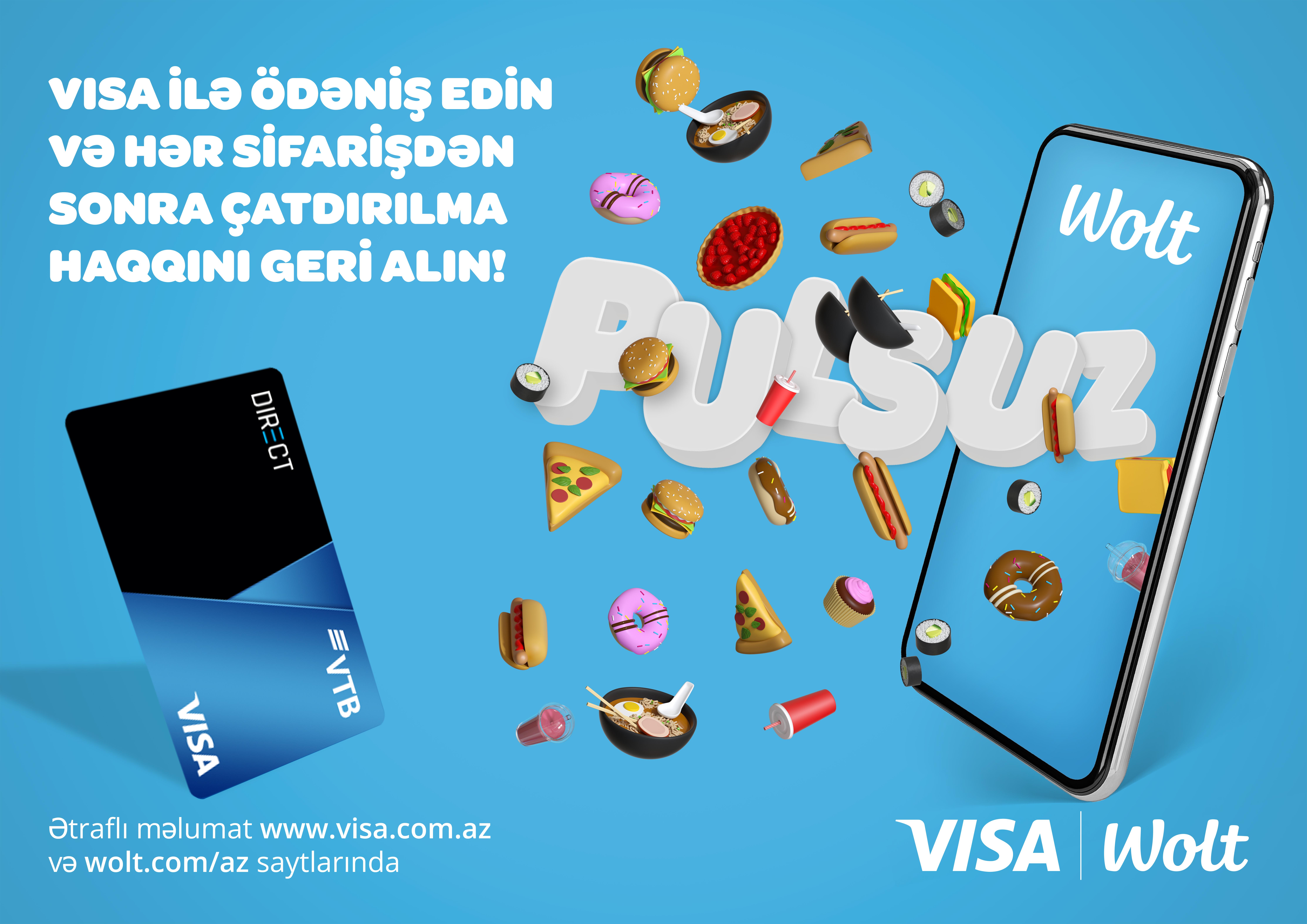 Владельцы карт Visa банка ВТБ (Азербайджан) при заказе еды получат бесплатную доставку