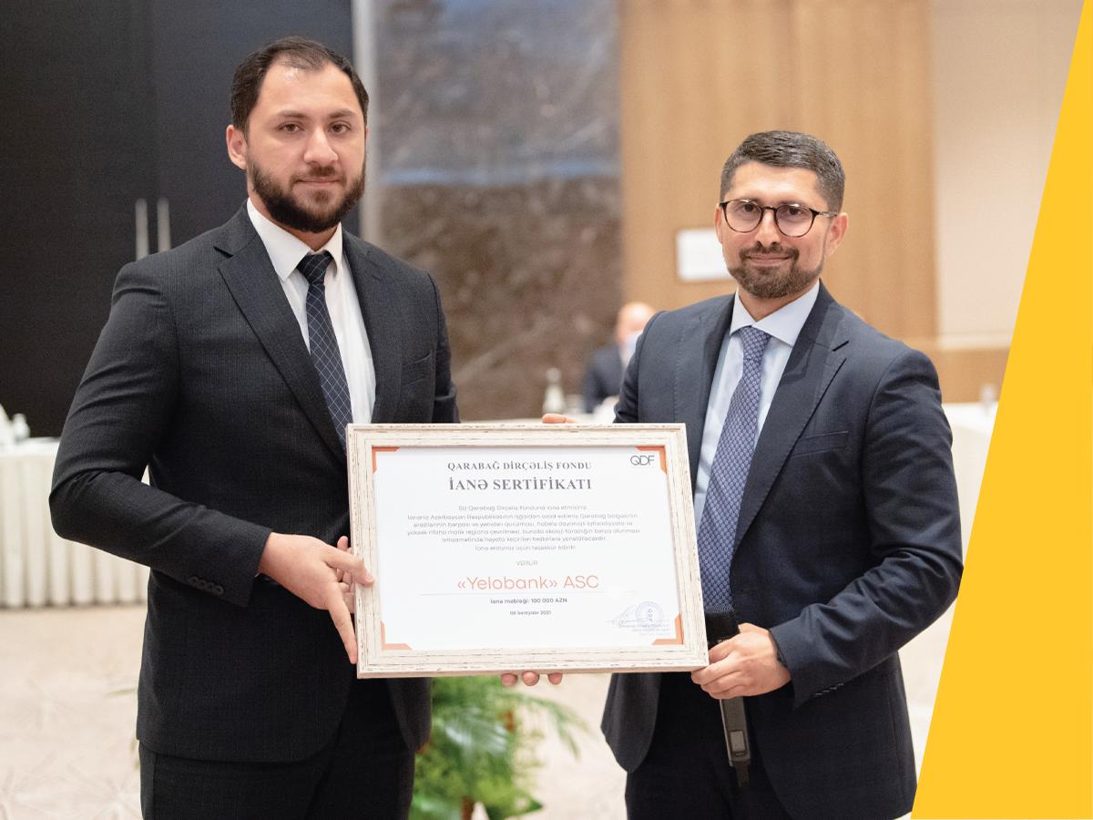 Yelo Bank наградили Сертификатом «Фонда Возрождения Карабаха»