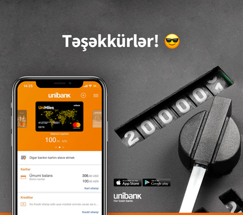 Unibank Mobile istifadəçilərinin sayı 200.000-i keçib