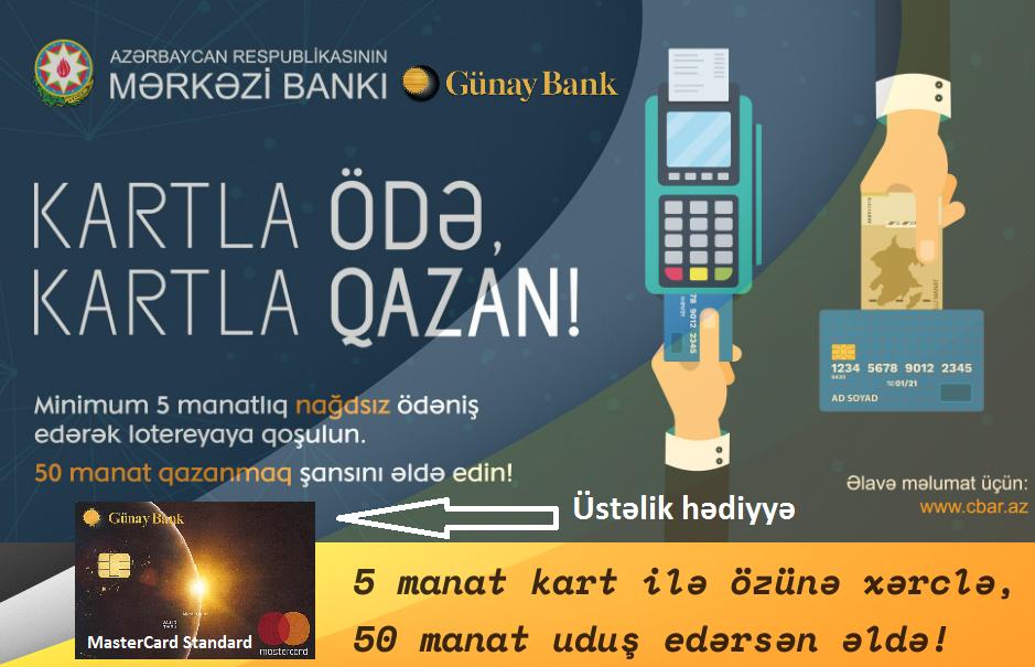 Günay Bank ödəniş kartı istifadəçilərinin nəzərinə -