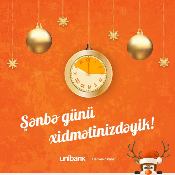 Unibank filiallarından 19-u  şənbə günü xidmətinizdədir