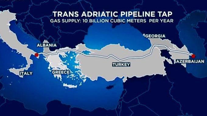 Trans-Adriatik qaz kəmərinin tikintisi 4,5 ildən sonra başa çatıb