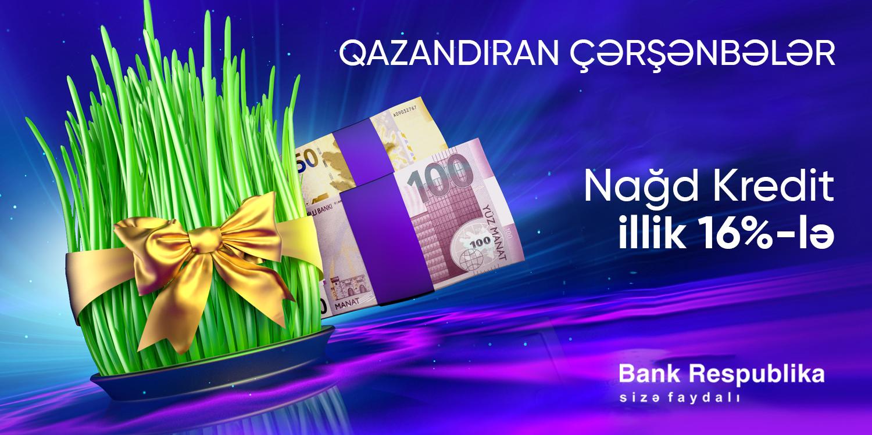 Bank Respublika Torpaq çərşənbəsində kreditlər üzrə faizləri endirəcək!
