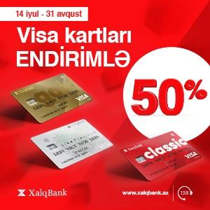 50% скидка на карты VİSA от Халг Банк!